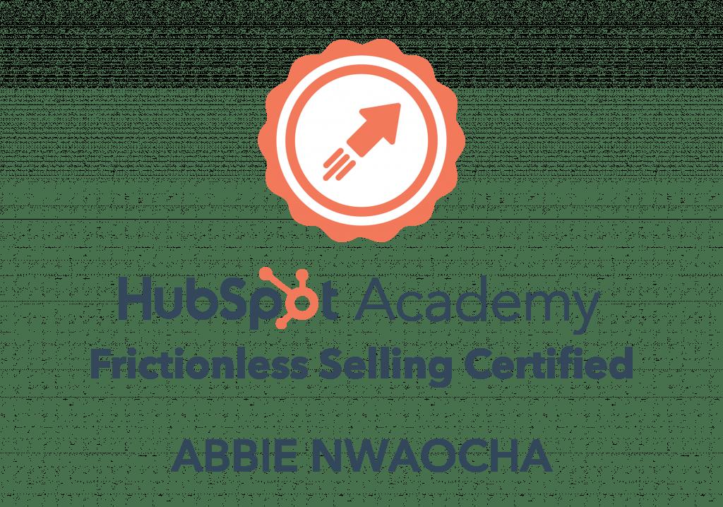 Abbie Nwaocha Frictionless Sales Certification